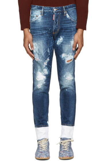 Dsquared2 - Blue Distressed Skinny Jeans