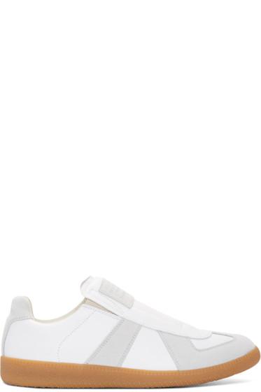 Maison Margiela - White & Grey Leather Replika Slip-On Sneakers
