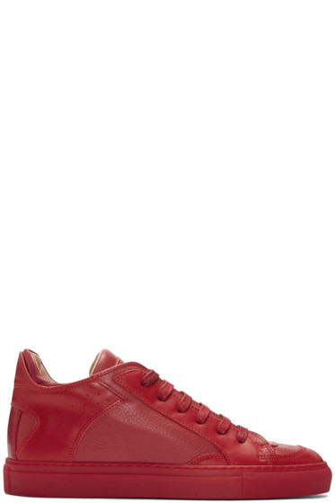 MM6 Maison Margiela - Red Nappa Calfskin Sneakers