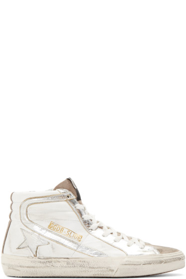 Golden Goose - White & Silver Slide High-Top Sneakers