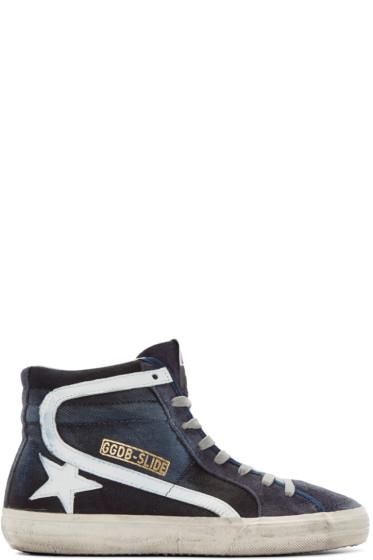 Golden Goose - Blue Slide High-Top Sneakers