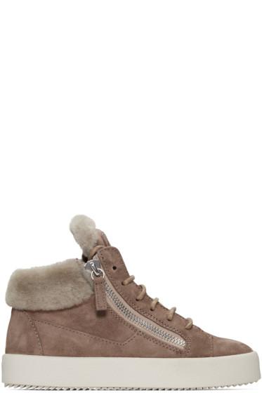 Giuseppe Zanotti - Beige Suede London High-Top Sneakers