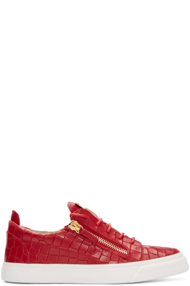 Giuseppe Zanotti - Red Croc-Embossed London Sneakers