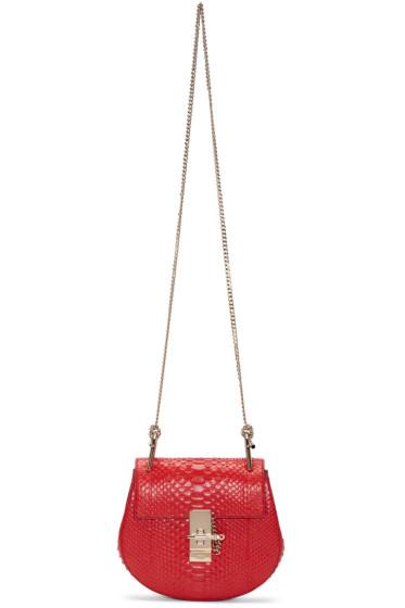 Chloé - Red Python Mini Drew Saddle Bag