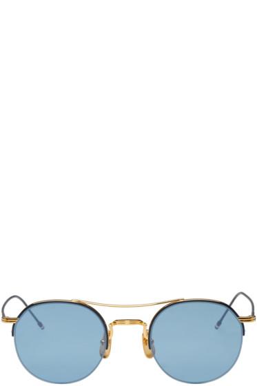 Thom Browne - Navy & Gold Semi-Rimless Sunglasses