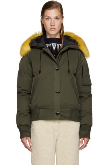 Kenzo - Green Fur-Trimmed Down Jacket