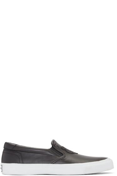Kenzo - Black Leather Tiger Slip-On Sneakers