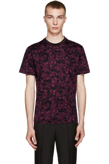 Versace - Black & Burgundy Baroque T-Shirt