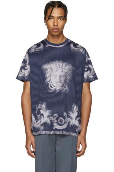 Versace - Navy Striped Medusa T-Shirt