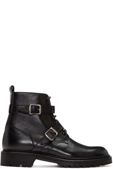 Saint Laurent - Black Leather Combat Boots