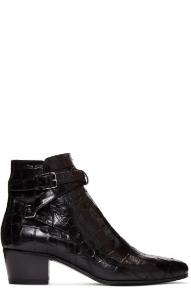 Saint Laurent - Black Croc-Embossed Blake Boots
