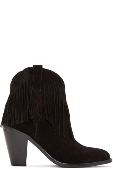 Saint Laurent - Black Fringed Curtis Boots