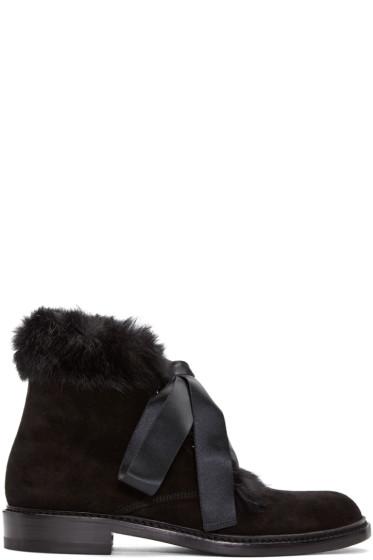 Saint Laurent - Black Rabbit Fur Army Boots