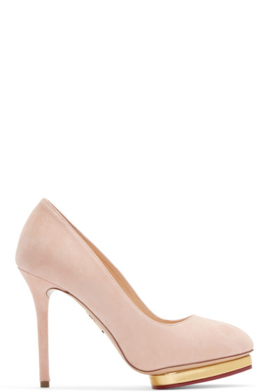 Charlotte Olympia - Pink Suede Dotty Heels