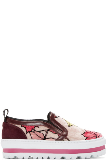MSGM - Multicolor Printed Leaves Sneakers