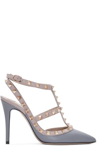 Valentino - Grey & Pink Rockstud Cage Heels