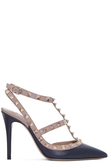 Valentino - Navy & Pink Rockstud Cage Heels