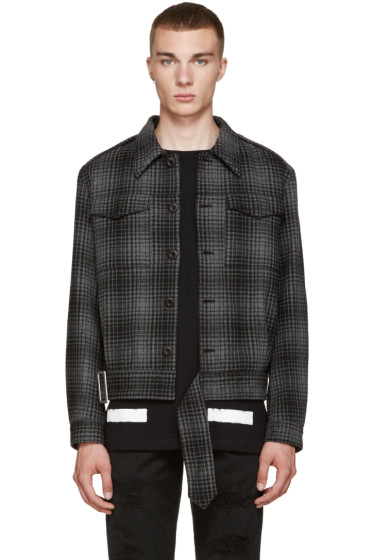 Off-White - Black & Grey Plaid Jacket