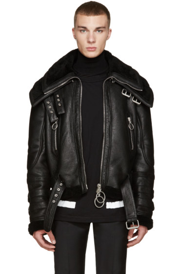 Off-White - Black Shearling Double-Collar Jacket