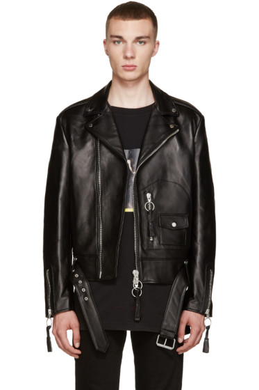 Off-White - Black Leather New Pocket Jacket