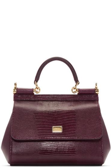 Dolce & Gabbana - Purple Iguana-Embossed Small Miss Sicily Bag