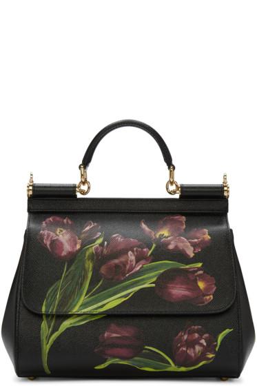 Dolce & Gabbana - Black Tulip Medium Miss Sicily Bag