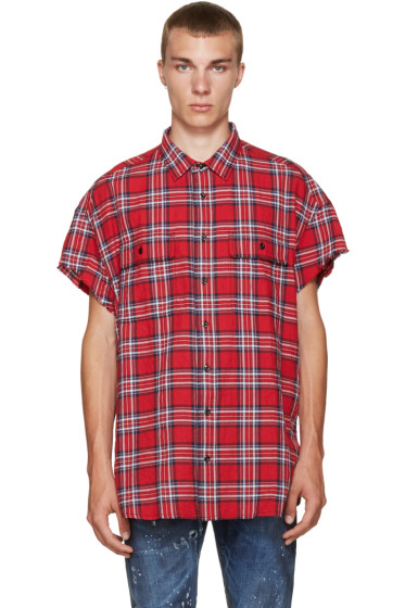 R13 - SSENSE Exclusive Red Check Cut-Off Shirt