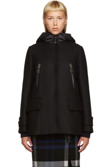 Moncler - Black Wool Layered Coat