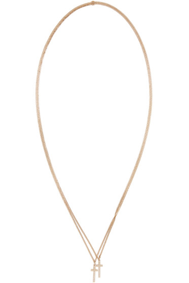 Dsquared2 - Gold Double Cross Necklace