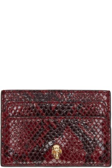 Alexander McQueen - Burgundy Python-Embossed Card Holder