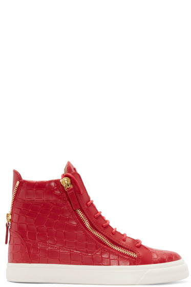 Giuseppe Zanotti - Red Croc-Embossed London High-Top Sneakers