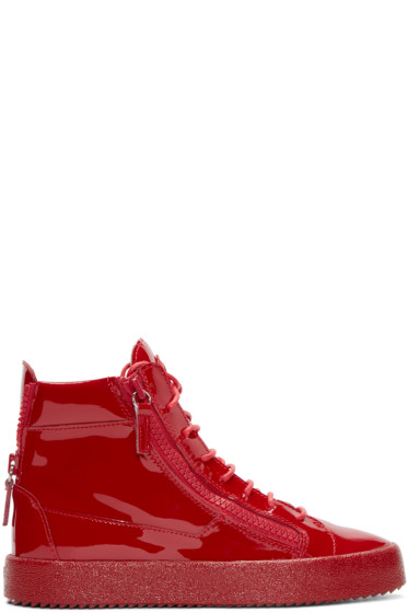 Giuseppe Zanotti - Red Patent Leather London High-Top Sneakers