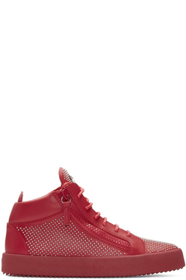 Giuseppe Zanotti - Red Studded London High-Top Sneakers