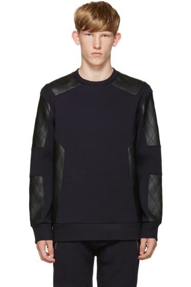 Neil Barrett - Navy Quilted Biker Pullover