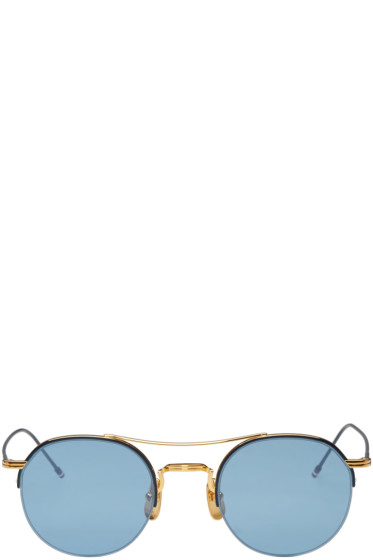 Thom Browne - Navy & Gold Semi-Rimless Sunglasses