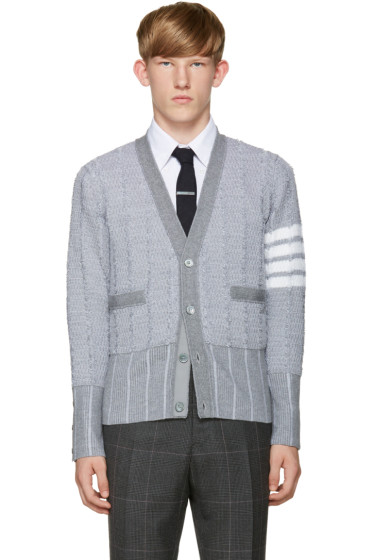 Thom Browne - Grey Wool Cardigan