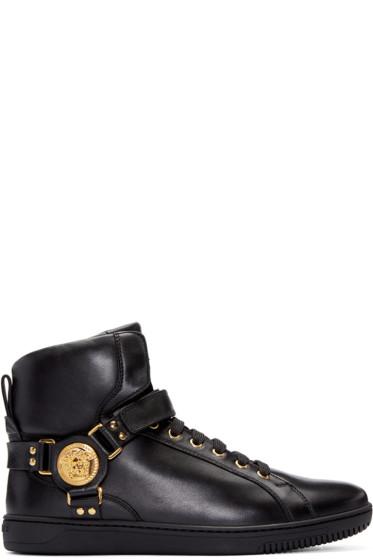 Versace - Black Harness High-Top Sneakers