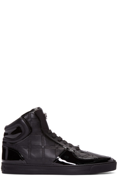 Versace - Black Greek Key High-Top Sneakers