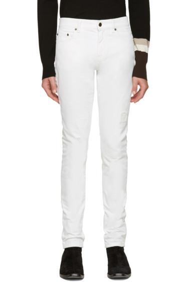 Saint Laurent - White Destroyed Skinny Jeans