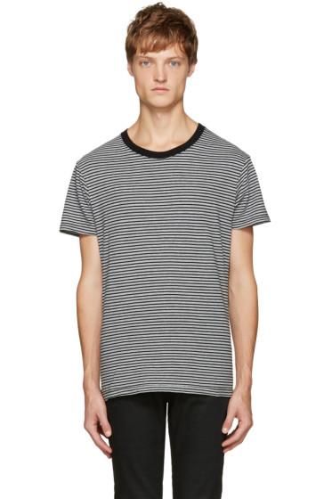 Saint Laurent - Grey & Black Striped T-Shirt
