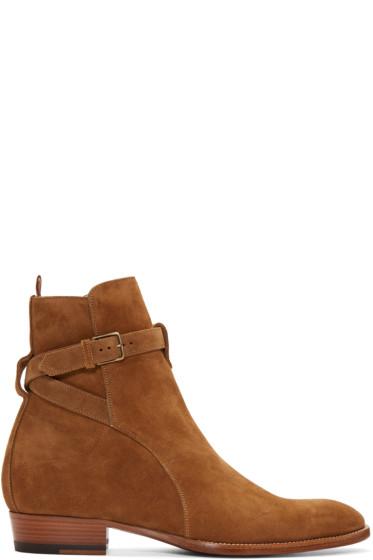Saint Laurent - Tan Suede Hedi Boots