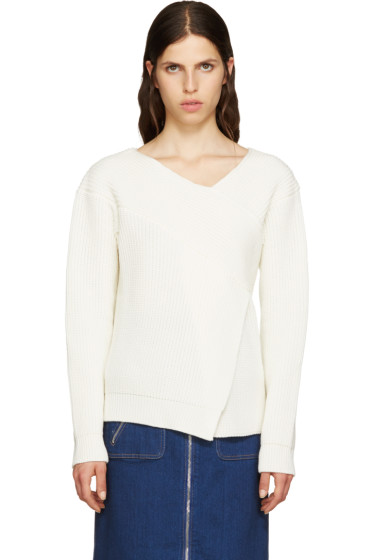 MSGM - White Wool Angular Sweater