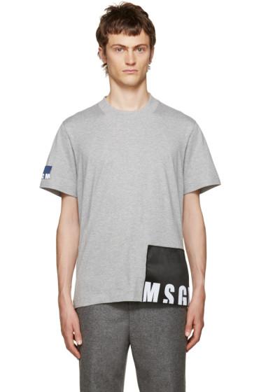 MSGM - Grey Logo Patches T-Shirt