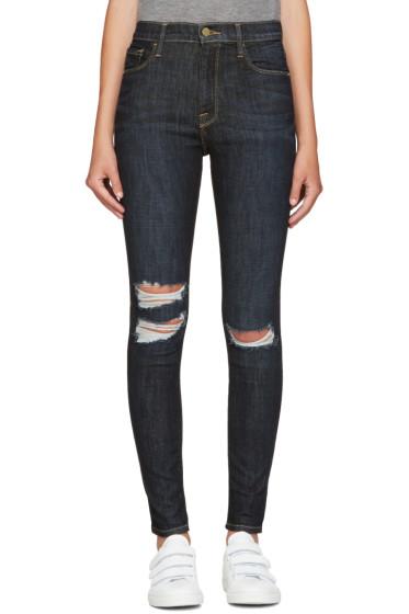 Frame Denim - Navy All High-Rise Skinny Jeans