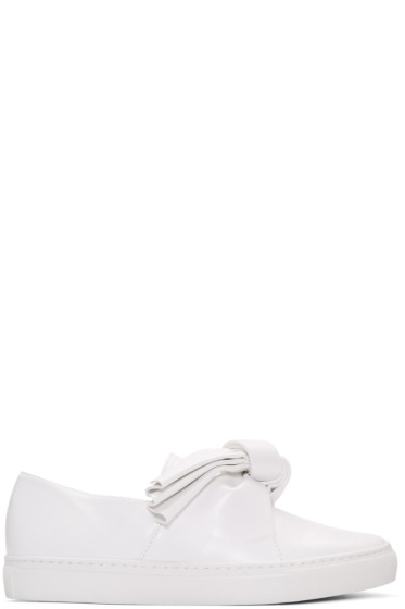 Cédric Charlier - White Leather Bow Slip-On Sneakers