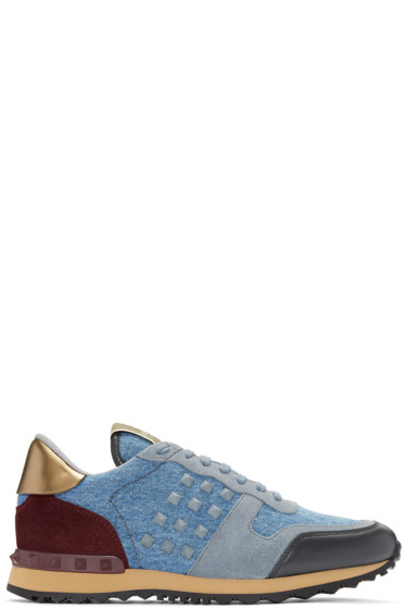 Valentino - Blue Denim Rockstud Sneakers