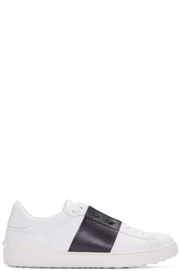 Valentino - White & Navy Open Sneakers