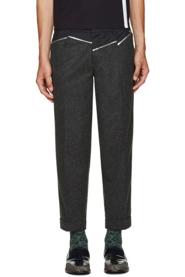 Kolor - Grey Wool Panelled Trousers
