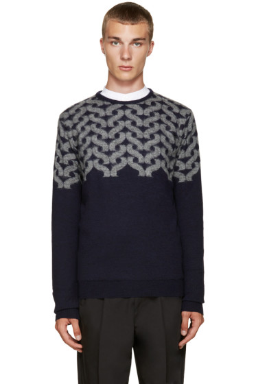 Kolor - Blue Wool Block Sweater