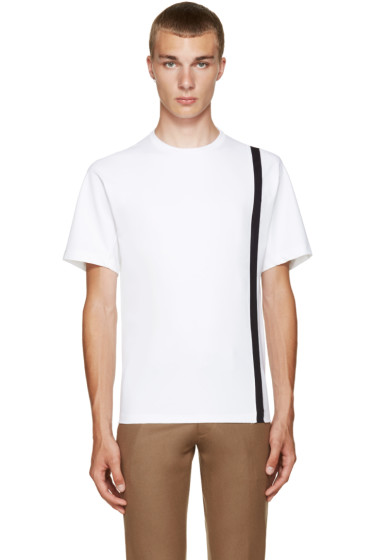 Kolor - White Single Stripe T-Shirt